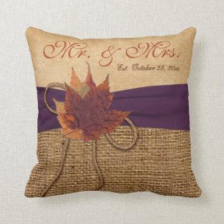 Autumn Leaves, FAUX Burlap Wedding Pillow