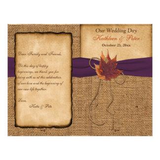 Autumn Leaves, FAUX Burlap Wedding Program