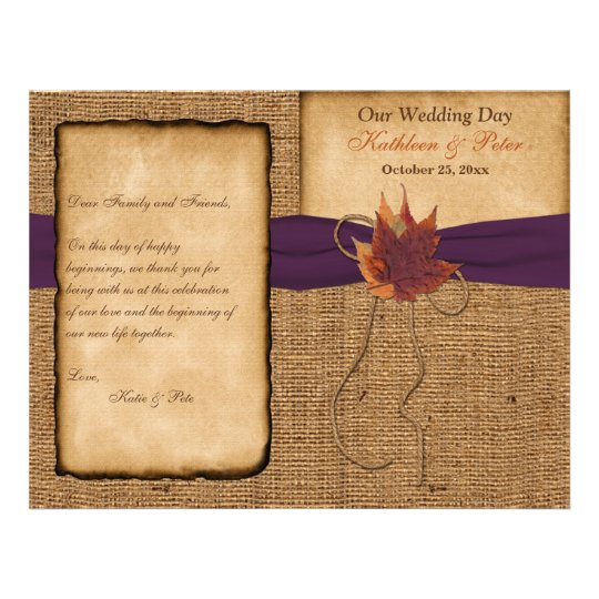 Autumn Leaves, FAUX Burlap Wedding Program