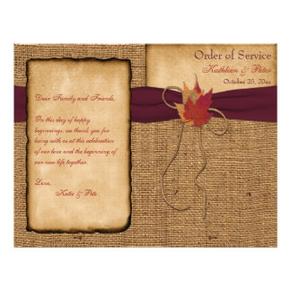 Autumn Leaves, FAUX Burlap Wedding Program - Wine