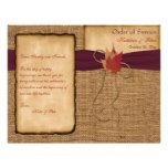 Autumn Leaves, FAUX Burlap Wedding Program - Wine Full Color Flyer
