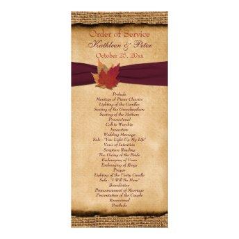 Autumn Leaves FAUX Burlap Wedding Program - Wine Custom Rack Cards