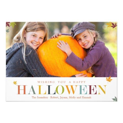 Autumn Leaves Halloween Photo Cards Card