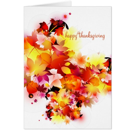Autumn Leaves Happy Thanksgiving Notecard