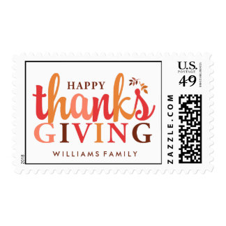 Autumn Leaves Happy Thanksgiving Postage