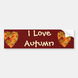 Autumn leaves heart bumper sticker