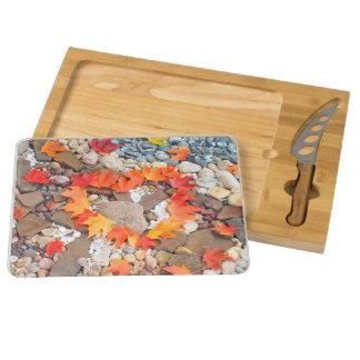 Autumn Leaves Heart Cheese Boards Rock Garden Rectangular Cheeseboard