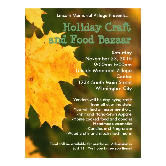 Autumn Leaves Holiday Craft Bazaar Flyer Zazzle Com