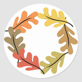 Autumn Leaves Hoop Classic Round Sticker