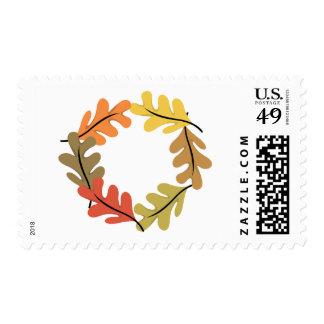 Autumn Leaves Hoop Postage Stamp