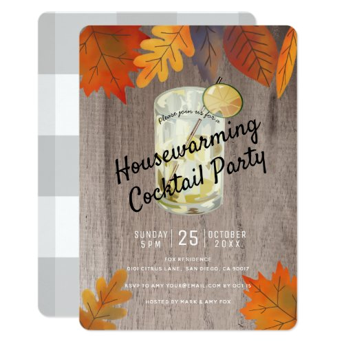 Autumn Leaves Housewarming Cocktail Party Wood Invitation