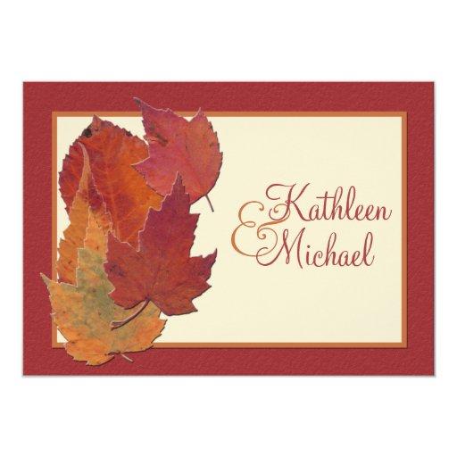 Autumn Leaves II Monogrammed Wedding Invitation