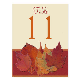 Autumn Leaves II Table Number Post Card