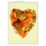Autumn leaves in a heart shape, blank stationery note card