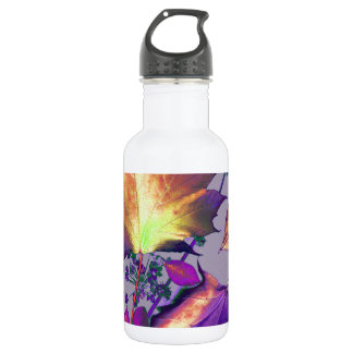 Autumn Leaves in Lilac Water Bottle