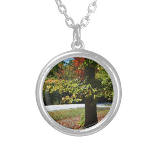 Autumn Leaves in Maine Silver Plated Necklace