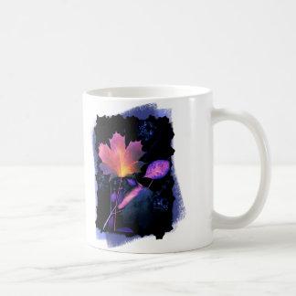 Autumn Leaves in Neon and Blue Classic White Coffee Mug