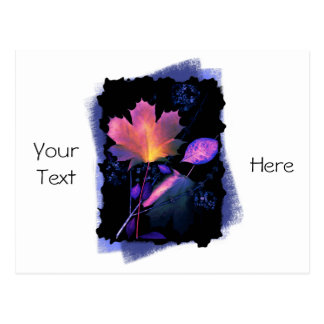 Autumn Leaves in Neon and Blue Postcards