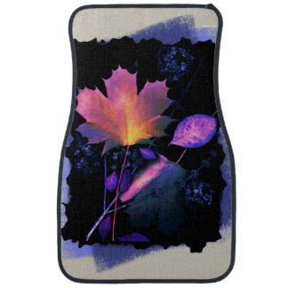 Autumn Leaves in Neon and Blue Floor Mat