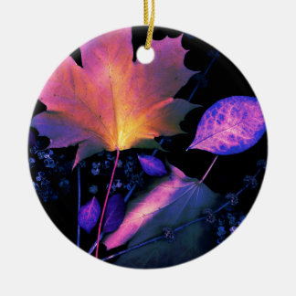 Autumn Leaves in Neon Ceramic Ornament