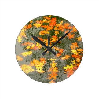 autumn leaves in rain round clock