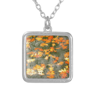 autumn leaves in rain silver plated necklace