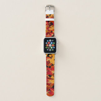 Autumn Leaves in Red Orange Yellow Brown Apple Watch Band