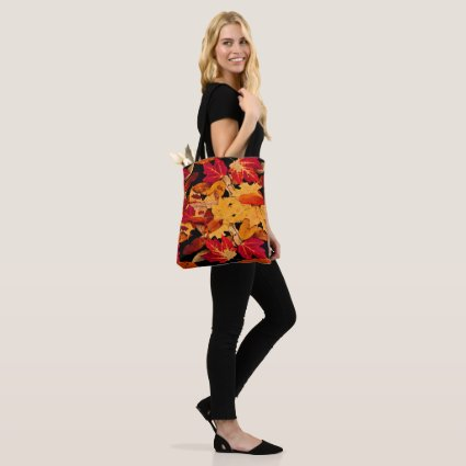 Autumn Leaves in Red Orange Yellow Brown Tote Bag