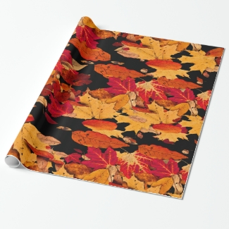 Autumn Leaves in Red Orange Yellow Brown