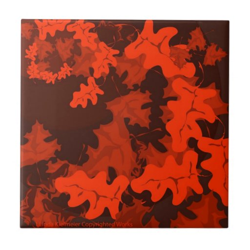 Autumn-Leaves-in-shades Small Square Tile