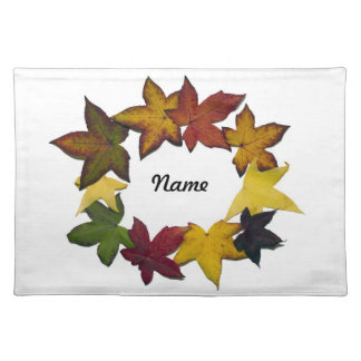 Autumn Leaves in white background Placemats