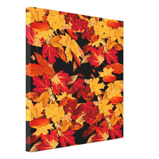Autumn Leaves in Yellow Red Orange Brown Canvas Print