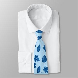 Autumn leaves - indigo and pale blue neck tie