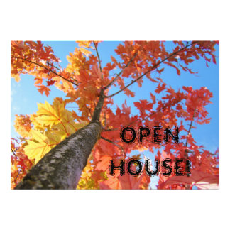 Autumn Leaves Invitations Open House Business