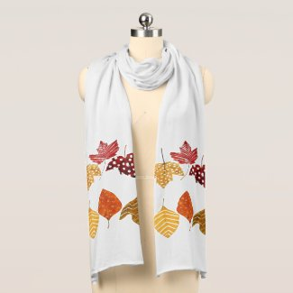 Autumn Leaves Jersey Knit Scarf