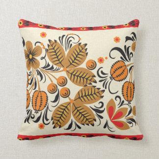 Autumn Leaves Khokhloma Throw Pillow