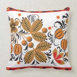 Autumn Leaves Khokhloma Throw Pillows