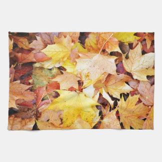 Autumn leaves kitchen towels