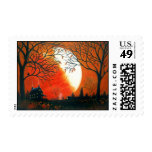 Autumn,leaves,landscape,moon,pumpkins Postage