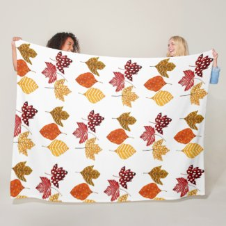 Autumn Leaves Large Fleece Blanket Home Decor