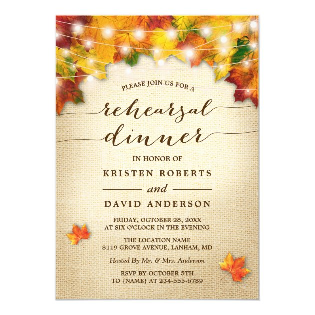 Autumn Leaves Lights Burlap Fall Rehearsal Dinner Card (front side)