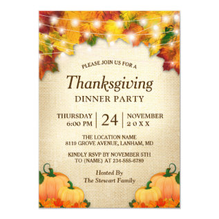 Autumn Leaves Lights Burlap Thanksgiving Dinner Card at Zazzle