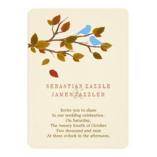 Autumn Leaves Love Bird Wedding 5x7 Paper Invitation Card