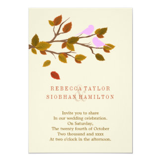 Autumn Leaves Love Bird Wedding Personalized Announcement