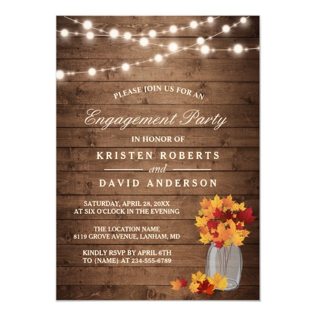 Autumn Leaves Mason Jar Rustic Engagement Party Card