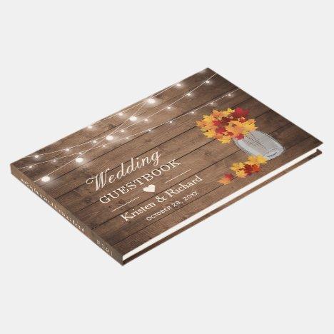 Autumn Leaves Mason Jar Rustic Wood Lights Wedding Guest Book