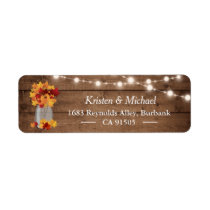 Autumn Leaves Mason Jar String Lights Rustic Wood Label