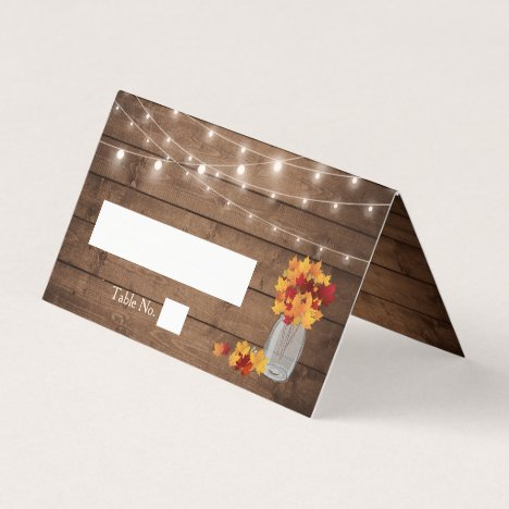 Autumn Leaves Mason Jar String Lights Wood Wedding Place Card