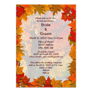 Autumn Leaves Meadow of Love Rehearsal Dinner Inv Card