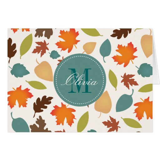 Autumn Leaves Monogram Personalized Note Cards